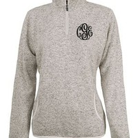 Monogrammed Heather Fleece Pullover | Outerwear | Marley Lilly