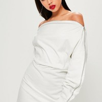 Missguided - White Zip Bardot Sweater Dress