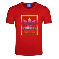 ADIDAS Clover trend men's 3M reflective round neck breathable sports short-sleeved T-shirt red