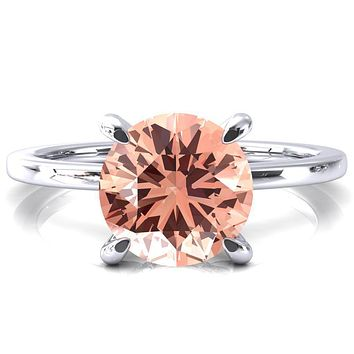 Rosy Round Champagne Sapphire 4 Claw Prong Single Rail Micropave Engagement Ring