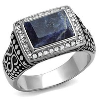 Mens Wedding Rings TK3003 Stainless Steel Ring with Semi-Precious