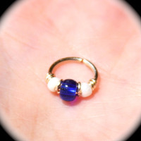 Small Cartilage Earrings, Royal Blue and White Beaded Nose Ring, Nose Hoop  Ear Cuff Helix Hoop, Nose Rings, Seamless Hoop, Piercing Jewelry