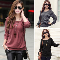 Fashion Women's Batwing Top Dolman Loose T-Shirt Blouse Top Long Sleeve  F_F