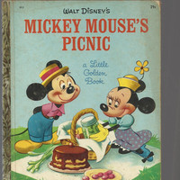1950 Vintage Walt Disney Book, Mickey Mouse's Picnic, 1950 Little Golden Book