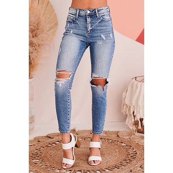 Always A Pleasure Distressed High Rise Jeans (Light Denim)