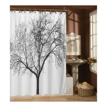 Kess InHouse Sylvia Coomes Autumn Trees 2 Orange Yellow Shower Curtain 69 by 70-Inch