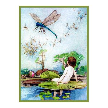 Water Baby and Dragonflies by Warwick Goble Counted Cross Stitch Chart Pattern