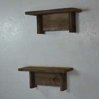 Small pair of rustic wall shelves reclaimed wood 11 wide 4 deep