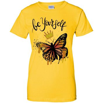 "Inspiring Butterfly Cotton T-Shirt - ""Be Yourself"""