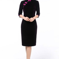 Seamed Pencil Knee Length Traditional Chinese Cheongsam