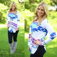 Artistic Aztec Top in Royal Blue