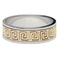 Versace Key Ring Band - Two Toned Gold Versace Ring