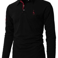 Mens Polo Shirt Brands 2018 Male Long Sleeve Fashion Casual Slim Solid Deer Embroidery Polos Men Jerseys 3XL