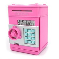 """Ibeauti Unique Plastic Piggy Banks for Kids, Password Box for Saving Money, Coins, Novelty Toys and Cool Birthday Gifts, 5.12""""*4.72""""*7.68"""" (Pink)"""
