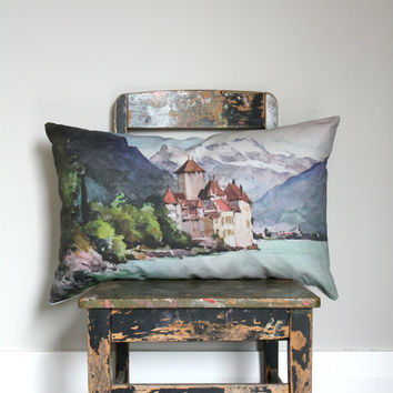 Vintage style watercolor print Lumber pillow, mountain lake and castle cushion cover, natural, blue, terracotta, lumber pillow cover