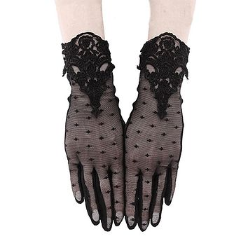 Restyle GUIPURE Lace GLOVES - Gothic Wedding Mesh Gloves - Evening Wear Gloves
