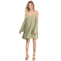 Apricot Cold Shoulder Long Sleeve Shift Dress