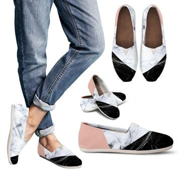 Black White Marble Women's Casual Shoes