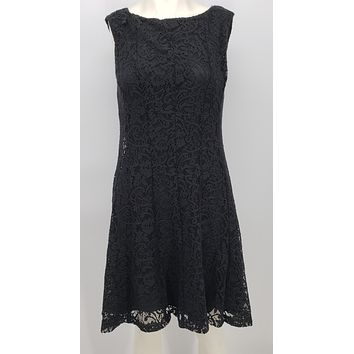 Connected Apparel Womens Black Lace Shift Dress Size 6