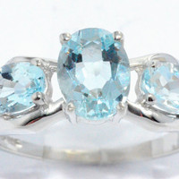 2 Carat Genuine Aquamarine Oval Ring .925 Sterling Silver Rhodium Finish White Gold Quality