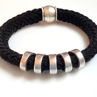 Black Poly Braided Rope Cord Bracelet With Silver Cut Out Bar Design and Silver Magnetic Clasp