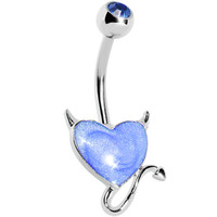 Devilish Blue Heart Belly Ring | Body Candy Body Jewelry