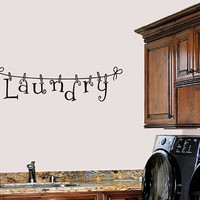 Laundry Clothesline Wall Decal - Wall Art - High Quality Wall Decal - Wall Decor for the Home