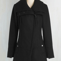Military Long Long Sleeve Diagonal Alley Coat in Black