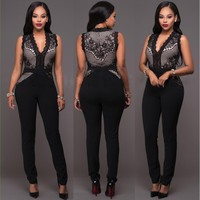 Womens Cool Lace Pattern V Neck Jumpsuit