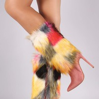 Shoe Republic LA Suede Multicolor Fur Pointy Toe Stiletto Boots