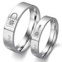 Stainless Steel Couple Rings Wedding Bands Love Lock Finger Shine Crystal 313
