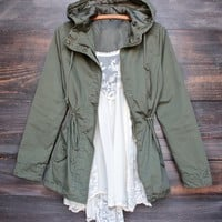 Hooded Utility Parka Jacket with Drawstring Waist in More Colors