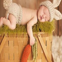 Tan Rabbit Baby Newborn Knit Outfit Bunny (Great for Easter) - CCC263