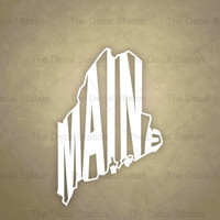 Maine Vinyl Decal Sticker for Car Truck Auto. Word Art . US State Pride.