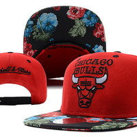 Flower NBA Mitchell And Ness x Chicago Bulls Snapbacks Hats Red 811 9037