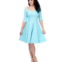 Unique Vintage Sky Blue Three-Quarter Sleeve Grace Swing Dress