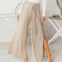 Spring and summer fashion wide-leg pants high slit women's cotton and linen casual pants loose