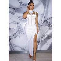 Ginger White Studded Stretch Crepe Dress with Choker