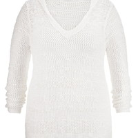 Plus Size - Open Stitch High-Low Hooded Pullover - White