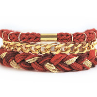 Burgundy bracelet set for stacking, braided bracelet stack with three pieces, marsala and gold arm candy