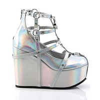 Demonia Holographic Silver Cage Bootie Rave Shoes with Heart-Locket Detail