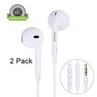 Amoner Premium Earphones/Headphones/Earbuds with Stereo Mic&Remote Control for Apple iPhone 6s/6/6plus,iPhone SE/5s/5c/5, iPad /iPod and More - White(Pack of 2)