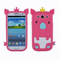Fosmon 3D Pig Design Silicone Case for Samsung Galaxy S3 S III - Hot Pink