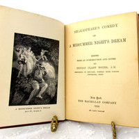 Antique Book Shakespeare's A Midsummer Night Dream Hardback Table Book Published In 1920 Poetry And Play Vintage Collectible Gift Item 2214