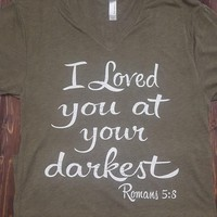 At Your Darkest on Military Green V-Neck Tee