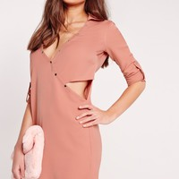 Missguided - Crossover Cut Out Shirt Dress Pale Pink