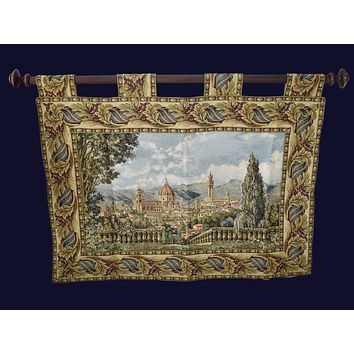 Vintage Baroque Rococo Style Tapestry Italy 1960s Exquisite Large Italianate Wall Decor
