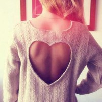 On Sale CUTE HEART HOLLOW OUT SWEATER HOT