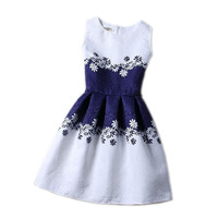 Girls Sleeveless A-Line Print Dress
