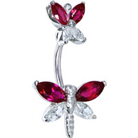 Sterling Silver 925 Siam Red Cubic Zirconia Butterfly Dragonfly Belly Ring | Body Candy Body Jewelry